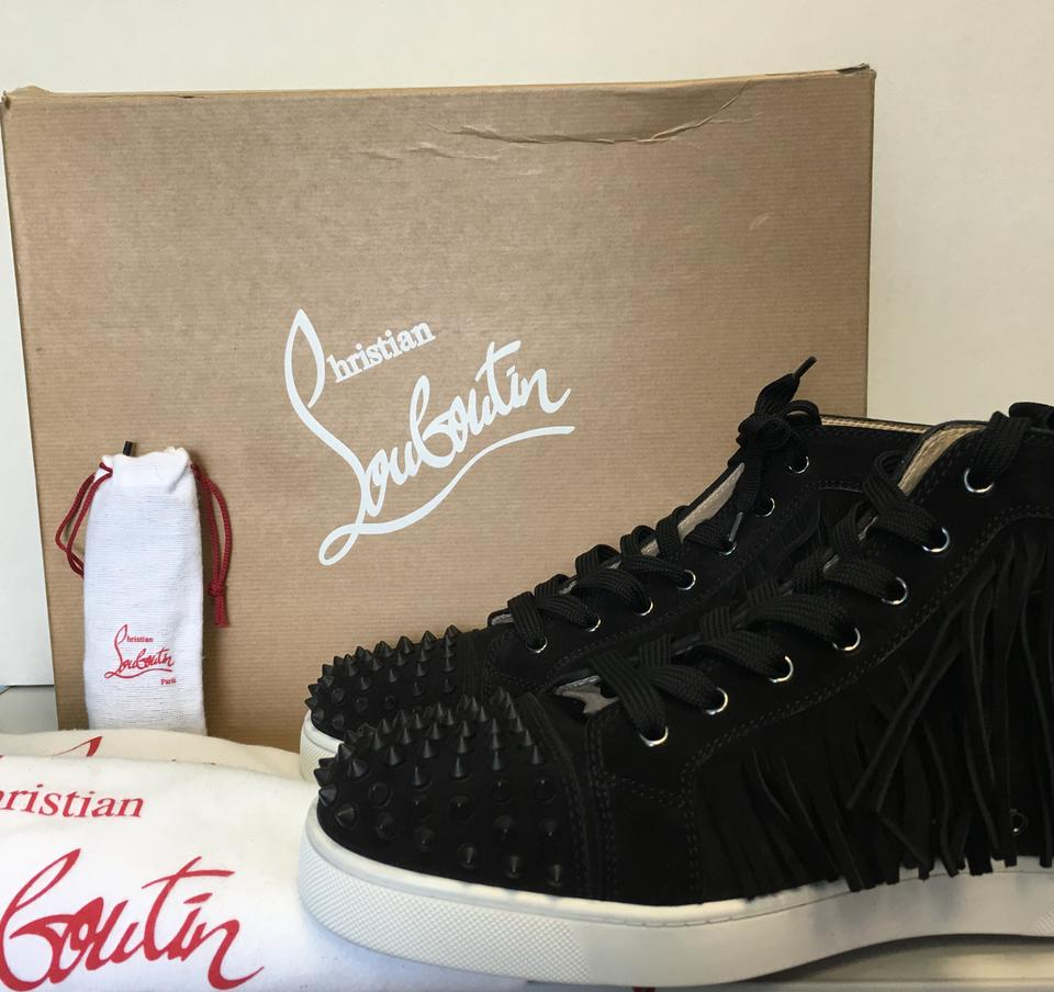 Coachelito Louboutin Men's Classic Christian Fringed Black Suede Leather Sneakers Trainers wIqdWgfcW6