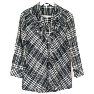 Joie Plaid Ruffed Button Front 3/4 Sleeves Cotton Top Gray