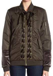 Sam Edelman Front Zip Closure 4 Zip 2 Flap Velvet Lower Sleeves Velvet Laces Motorcycle Jacket