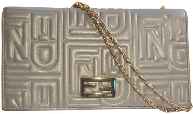 Item - Silver Embossed Leather Wallet On A Chain Shoulder Bag