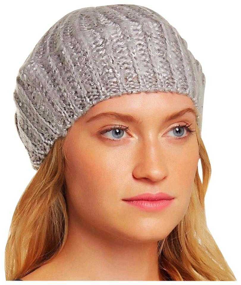 Gray Silver Cable Knit Metallic Sequin Beret Beanie Hat - Tradesy a0bbdc782da