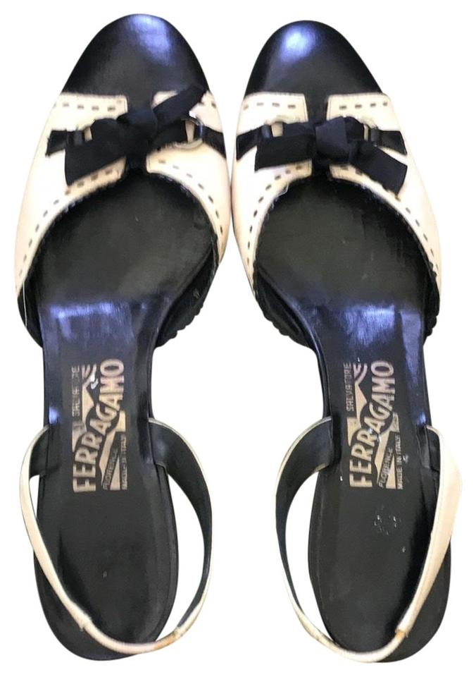 c2824857bccb8 Salvatore Ferragamo Navy and Off White Super Cute Mules with Kitten Heel  Tie Bow Sandals