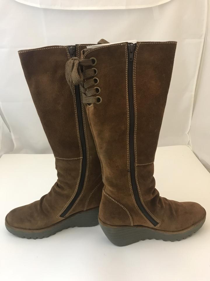 FLY London Camel 3518 Yust Suede Tall Wedge BootsBooties Size EU 38 (Approx. US 8) Regular (M, B) 68% off retail