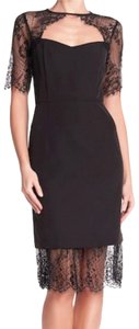 Nanette Lepore Keyhole Crew Neck Elbow Sleeves Lined Lace Detailing Dress