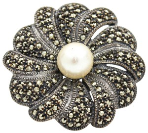 Judith Jack Judith Jack Vintage Flower Brooch with Pearl Center and Marcasite