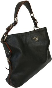 Prada Vitello Daino Leather Hobo Tote in Black