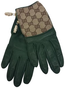 Gucci Olive green leather Gucci GG web print gloves