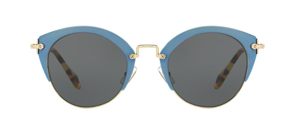4b4680f0a8d5 Miu Miu Gold   Blue   Gray Lens Free 3 Day Shipping Smu 53r Vad1a1 New  Round Retro Sunglasses