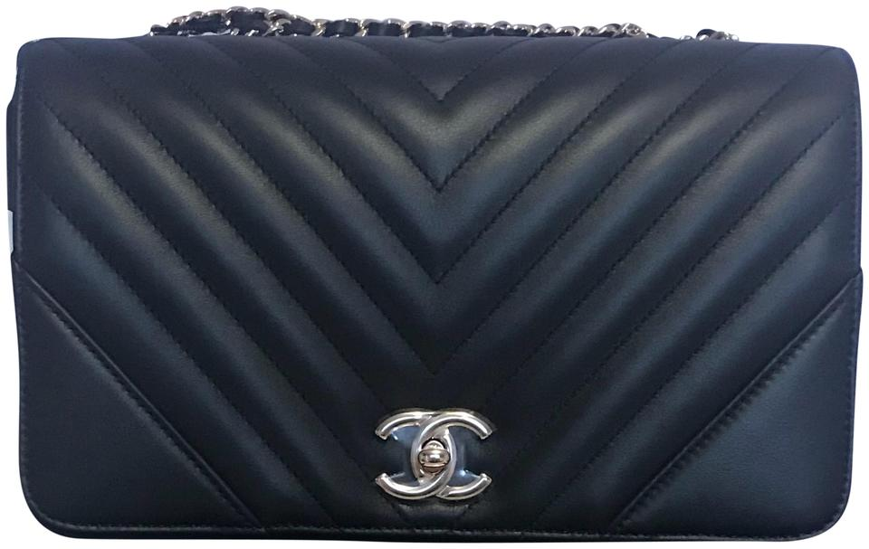 042f787021de7e Chanel Classic Flap 18a Collection Chevron Statement Black Calfskin ...