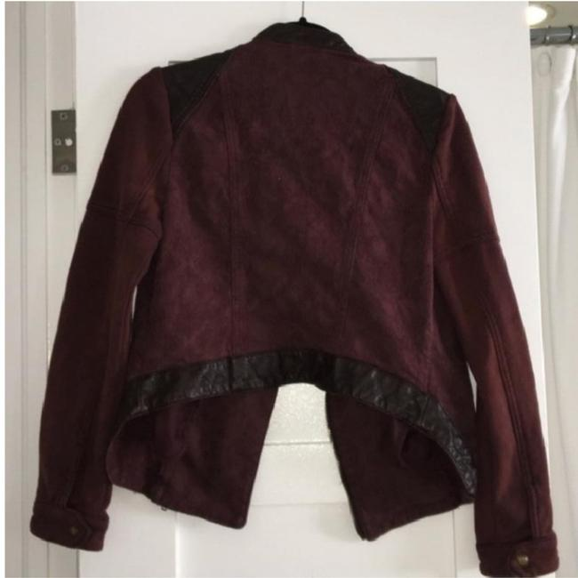 Free People Aubergine with Black Leather Womens Jean Jacket