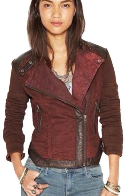 Free People Aubergine with Black Leather Mixed Media Jacket Size 8 (M) Free People Aubergine with Black Leather Mixed Media Jacket Size 8 (M) Image 1