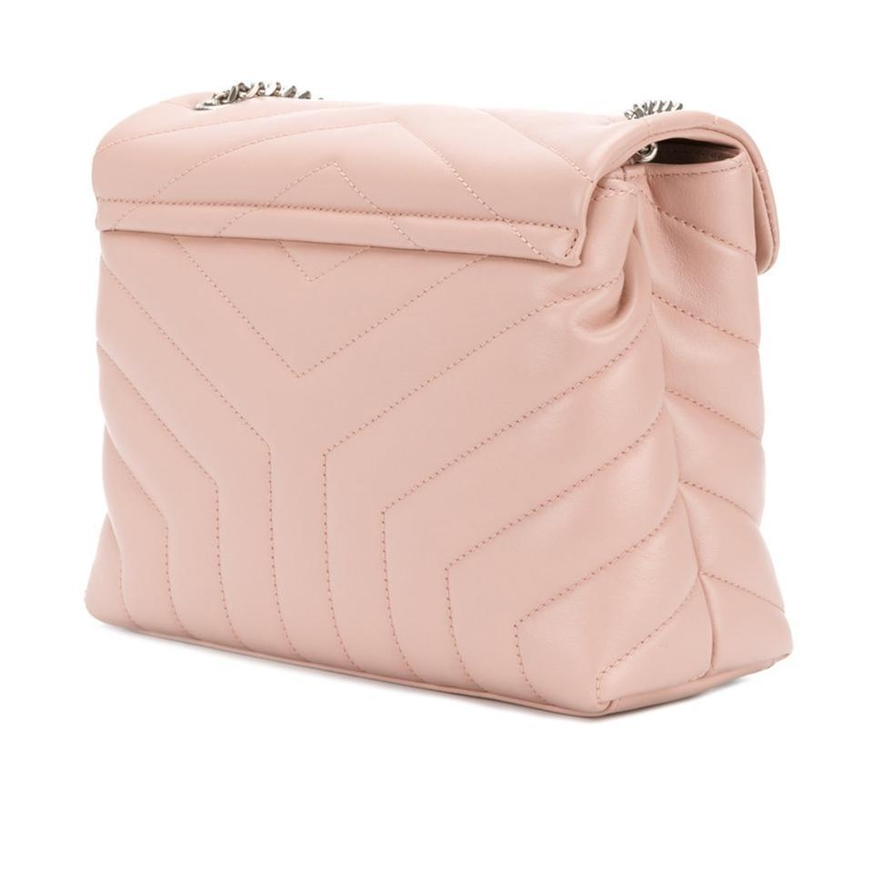 dc29a028d425 Saint Laurent Monogram Loulou Small Chain Crossbody Pink Leather Shoulder  Bag - Tradesy