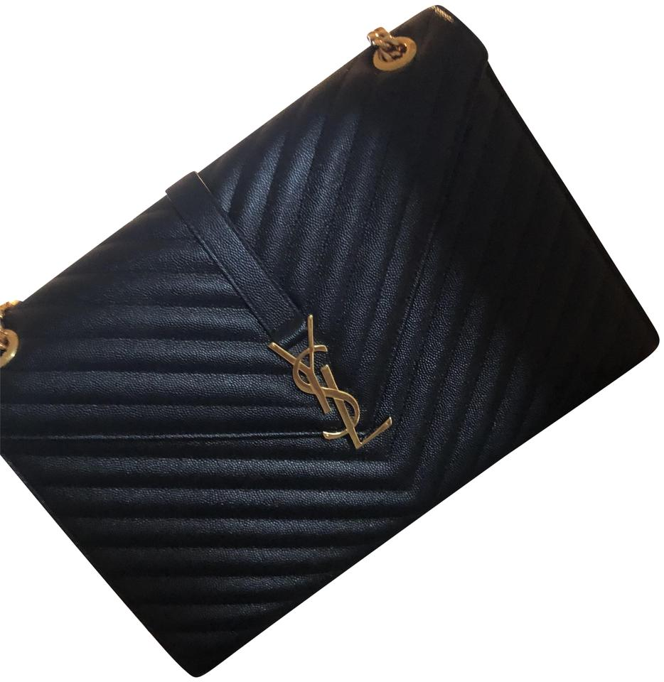 ed93f45598 Saint Laurent Large Envelope Chain In Textured MatelassÉ Black Calfskin  Leather Shoulder Bag