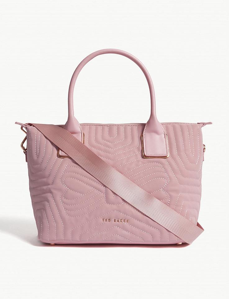 dbae9ee8bf4414 Ted Baker Small Reflective Quilted Dusky Shopper Crossbody Tote in Pink  Image 6. 1234567