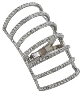 Michael Kors SIZE 7 RARE NWT Silvertone Crystal Cage Ring MKJ44260407