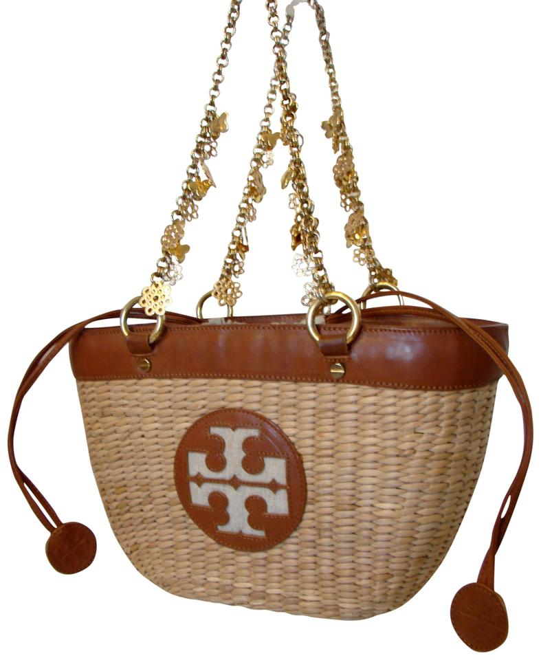 003127a2fa1d Tory Burch W Charms Natural Brown Straw Leather Tote - Tradesy