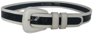 Neiman Marcus NEIMAN MARCUS WHITE LEATHER & BLACK PATENT STRIPED BELT, SIZE MEDIUM