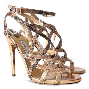 Jimmy Choo Snakeskin Deeta Rose Gold Cage Rose Brown and Tan Sandals