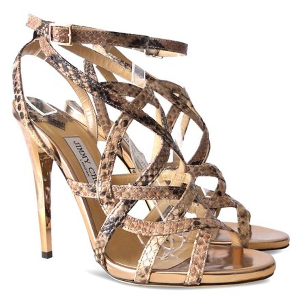 692bb3099279 Jimmy Choo Snakeskin Deeta Rose Gold Cage Rose Brown and Tan Sandals Image  0 ...