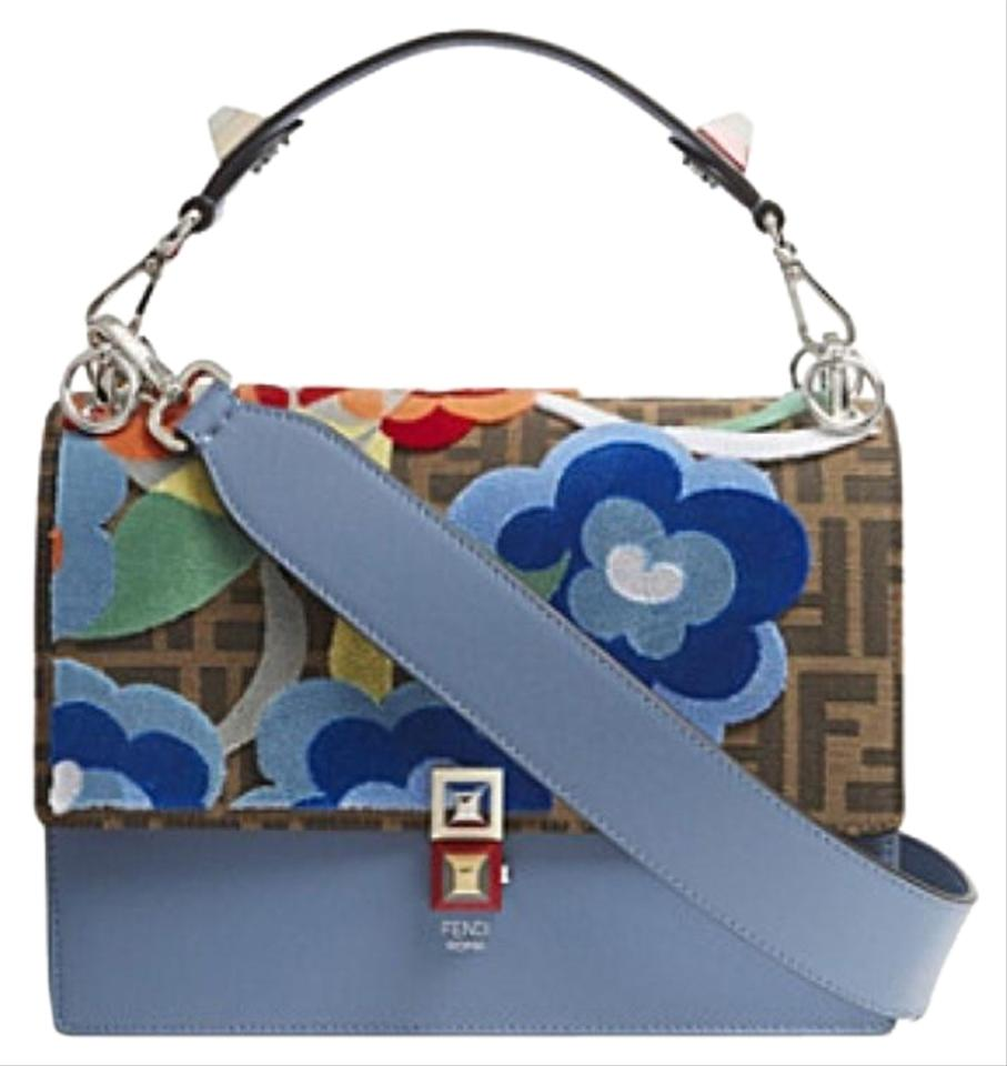 05c212dda44e Fendi Kan I Medium Floral Blue Leather Shoulder Bag - Tradesy