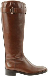 Tory Burch Logo Belted Zipper Stacked Brown Boots
