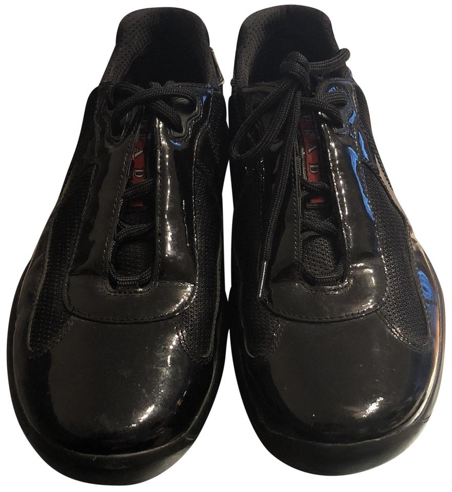 Prada Black Vernice Bike Sneakers Size US 9.5 Regular (M c78c4c9cbde