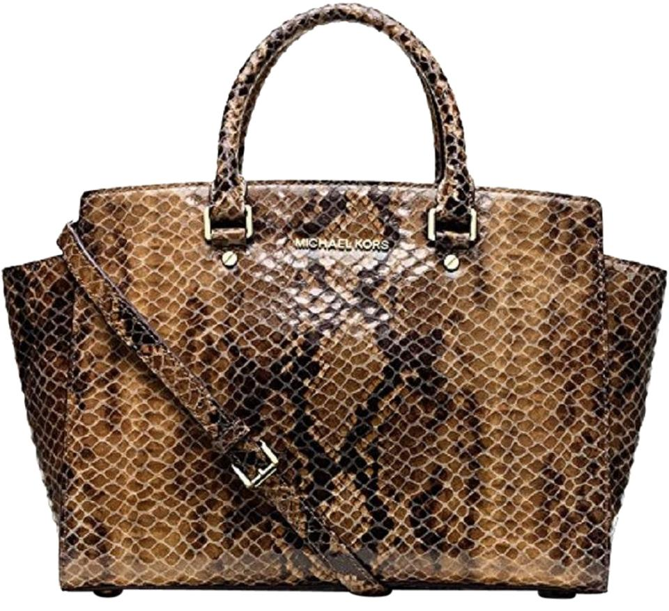 a533c2c9acdc Michael Kors Snake Snakeskin Reptile Beige Patent Satchel in Sand Python  Brown Image 0 ...