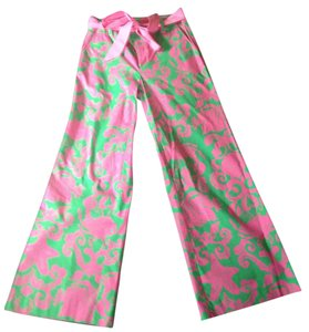 Lilly Pulitzer Green Summer Fun Palazzo Designer Stretch Dress Up Casual Pink Green Pink Wide Leg Pants Green pink