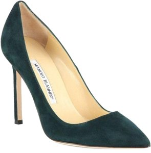 Manolo Blahnik Forest Emerald Olive Green Pumps