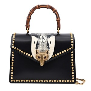 Gucci Studded Leather Satchel in Black