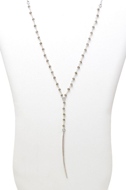 Item - Silver/Champagne Beaded Curved Pendant Nordstrom Necklace