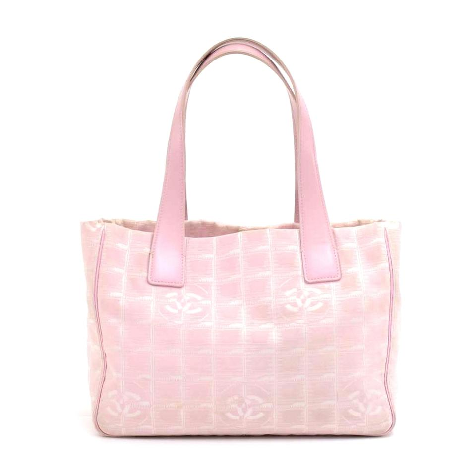 278c8de4b6a9 Chanel Travel Line Light Jacquard Small Pink Nylon Tote - Tradesy