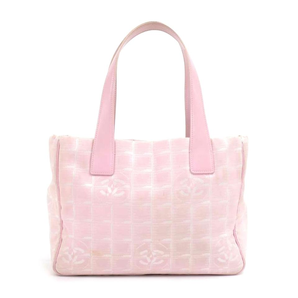 838aaab09426 Chanel Travel Line Light Jacquard Small Pink Nylon Tote - Tradesy