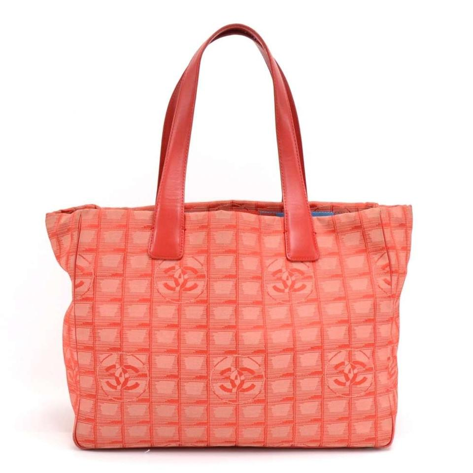 1d62cf6a5382 Chanel Travel Line Jacquard Medium Red Nylon Tote - Tradesy