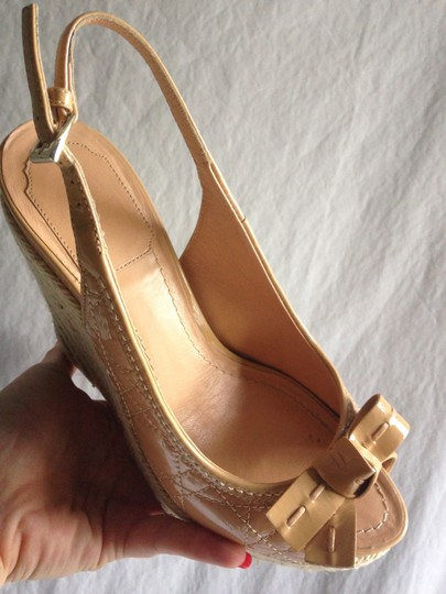 Dior Christian High Heels Slingbacks Patent Leather nude Wedges