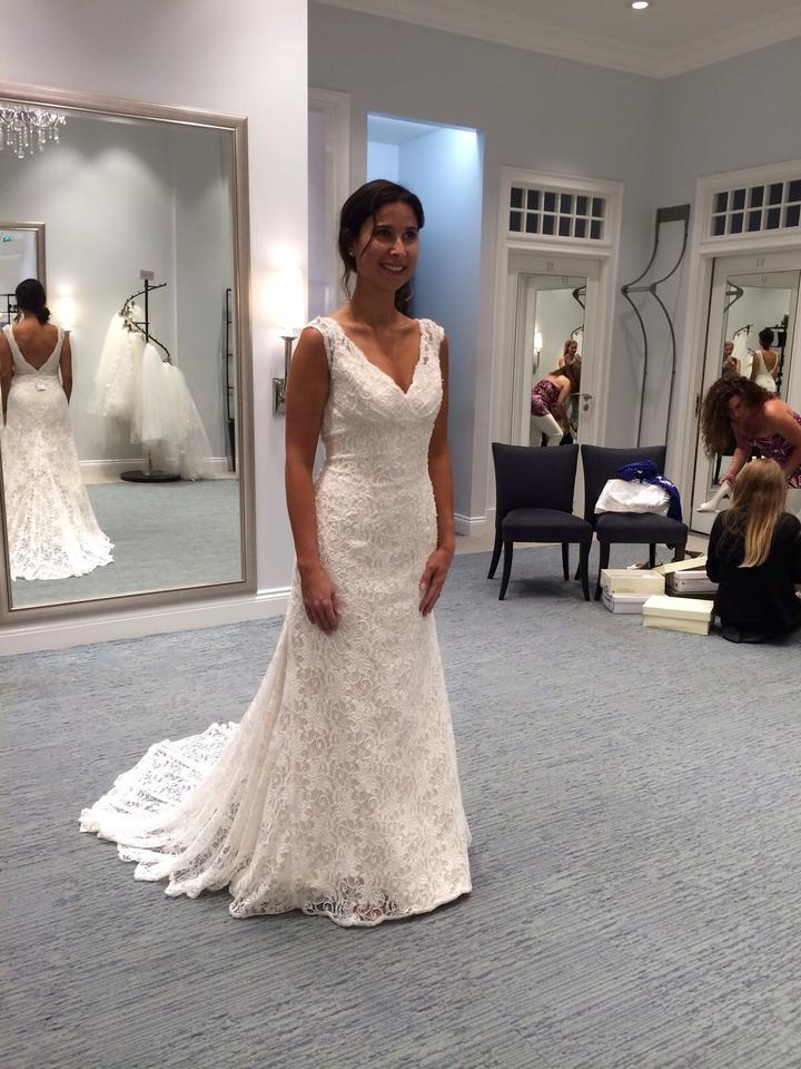9a8089aaa9 David s Bridal Ivory Champagne All Over Beaded Lace Trumpet T9612 Feminine Wedding  Dress Size 6 ...