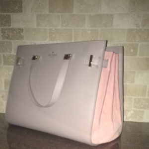 Kate Spade Satchel in Beige Leather With Pink Suede Side Panels