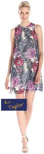 Just Taylor Floral Print Swing Style Jewel Neck Deep Cut Armholes Lined Dress