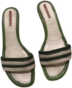 Prada Green/ white Sandals