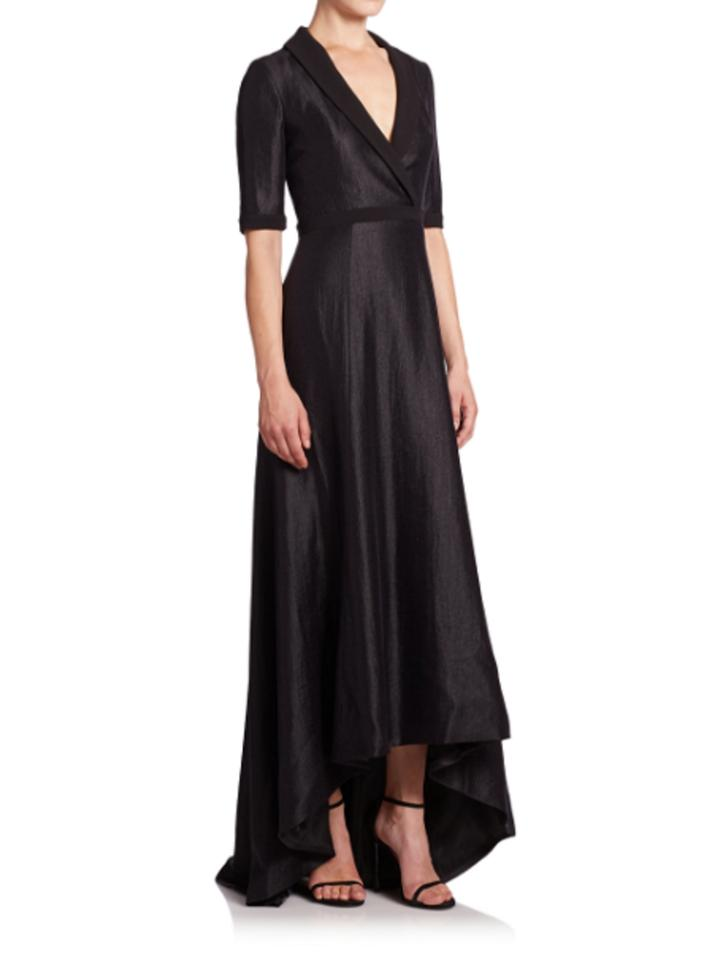 Black Halo Jovine Surplice Neck Hi-lo Gown Long Formal Dress Size 6 ...