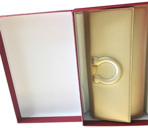 Salvatore Ferragamo Ferragamo almond/ gold wallet with box cards Brand new