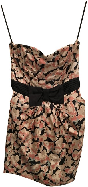 H&M Pink and Black Floral Short Night Out Dress Size 8 (M) H&M Pink and Black Floral Short Night Out Dress Size 8 (M) Image 1