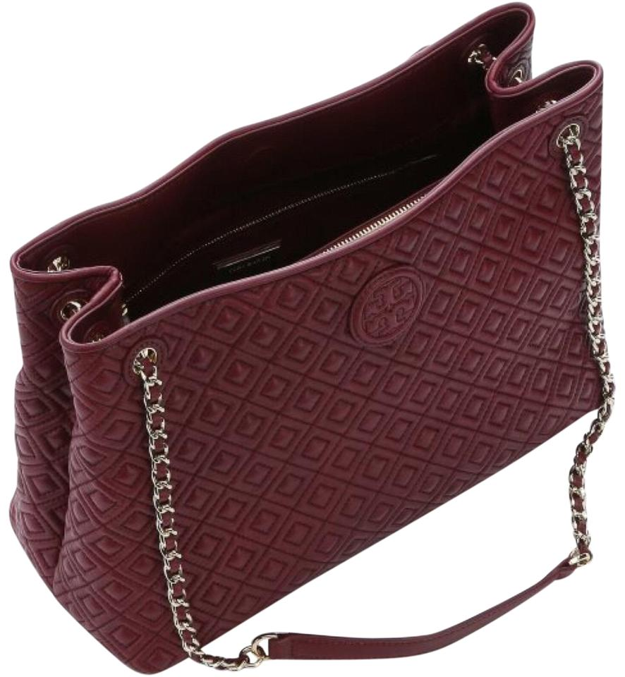 Tory Burch Marion Quilted Tote Burgundy Maroon Leather Satchel Tradesy