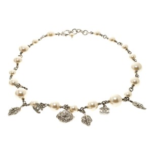 Chanel Beaute CC Crystal Faux Pearl Silver Tone Necklace
