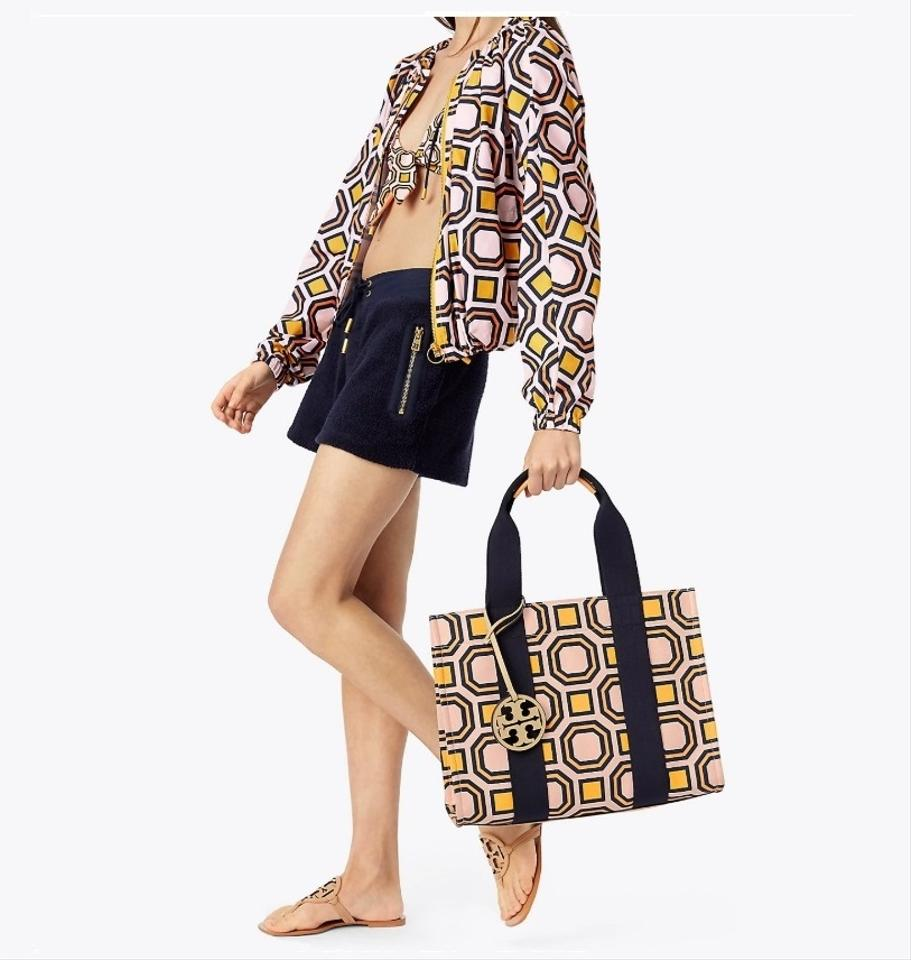 6a8520bc29e Tory Burch Printed Ballet Pink Octagon Square Canvas Leather Tote ...