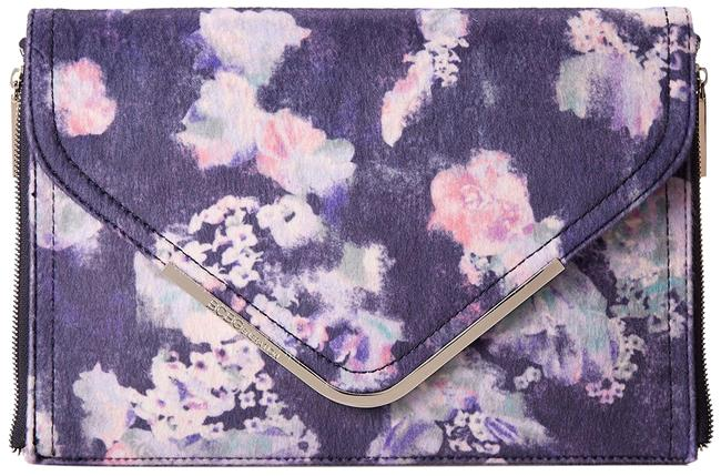 Item - Metallic Floral White Purse Blue Polyester Clutch