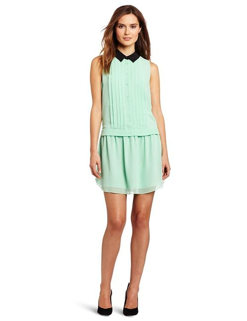 Item - Green Mint Pleated Collared Short Formal Dress Size 00 (XXS)