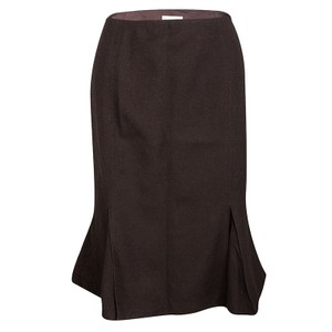 Valentino Brown Wool High Waist Inverted Pleat Skirt L