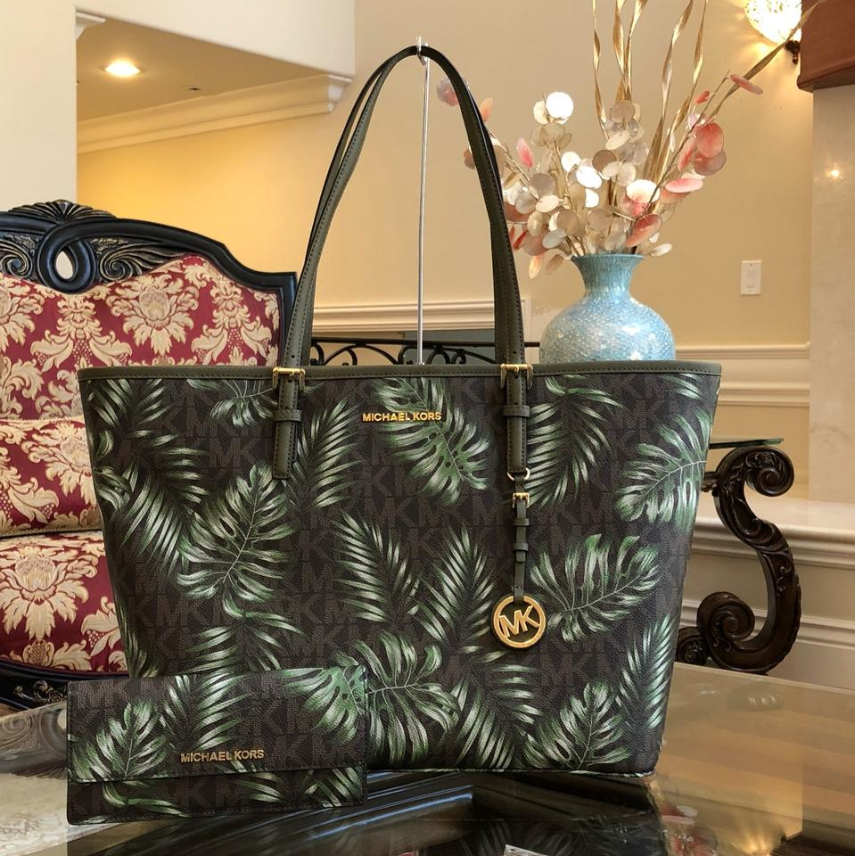0aa2fb5f72 Michael Kors 2 Pc Signature Jet Set Large Travel Carryall Handbag+wallet  Brown Olive Green Pvc Saffiano Leather Tote