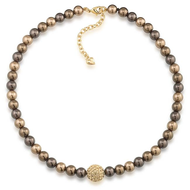 Item - Cocoa Tess 8mm Pearl with Gold Crystal Center Necklace